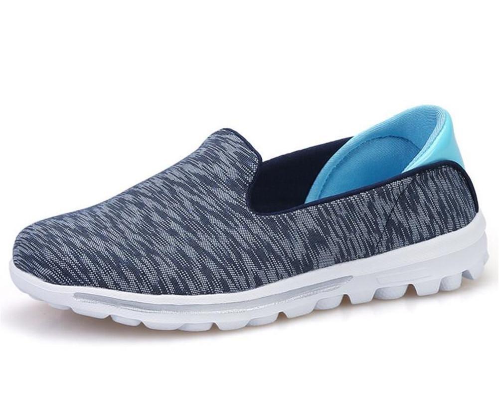 XIE Zapatos de Las Zapatillas de Deporte de la Bajo-Top Respirable Ocasional del Hilado de la Red de Las Mujeres/de Las Señoras Resorte y Verano Zapatos Planos Antideslizantes, 1802-2 Blue, 38 38|1802-2 blue
