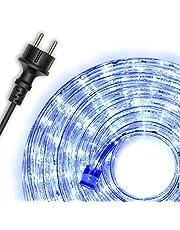 Nipach GmbH 10m 240 LED lichtslang blauw - binnen en buiten - energiebesparende verlichting decoratie voor tuin feest Kerstmis bruiloft totale lengte ca. 11,50 m