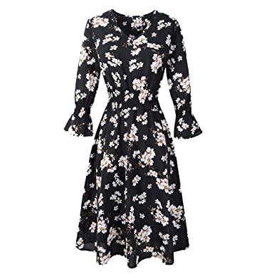Women Floral Dress,Connia Fashion Elegant V-Neck Half Sleeve High Waist