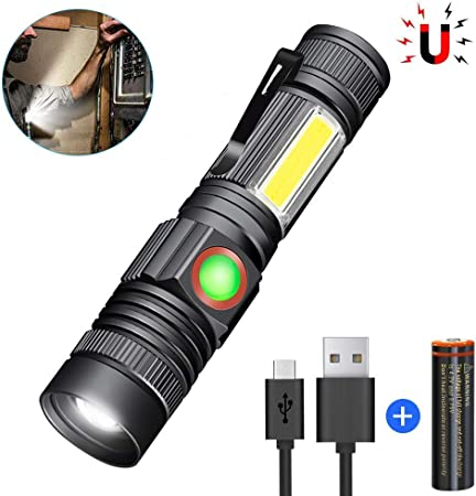 4 Modes LED COB Flashlight  Work Light Hand Torch Portable Lamp For Outdoor WT