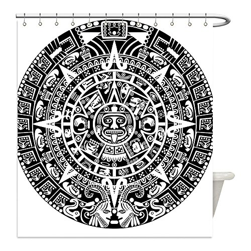 Mayan Costume Black Flag (Liguo88 Custom Waterproof Bathroom Shower Curtain Polyester Mesoamerican Decor Collection Mayan Calendar Apocalypse Astronomy Traditional Belief Ethnicity Culture Artwork Black White Decorative bathr)