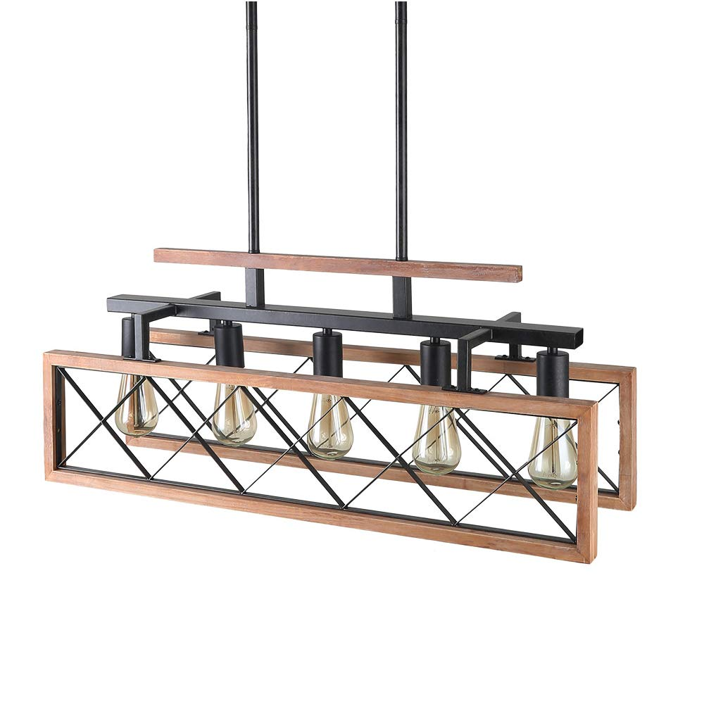 Giluta Rustic Wooden Chandelier Kitchen Island Light Farmhouse Chandelier Hanging Pendant Lighting Fixture Vintage Ceiling Light 5 Lights Ideal for Living Room Pool Table or Foyer (C0060) by Giluta (Image #1)