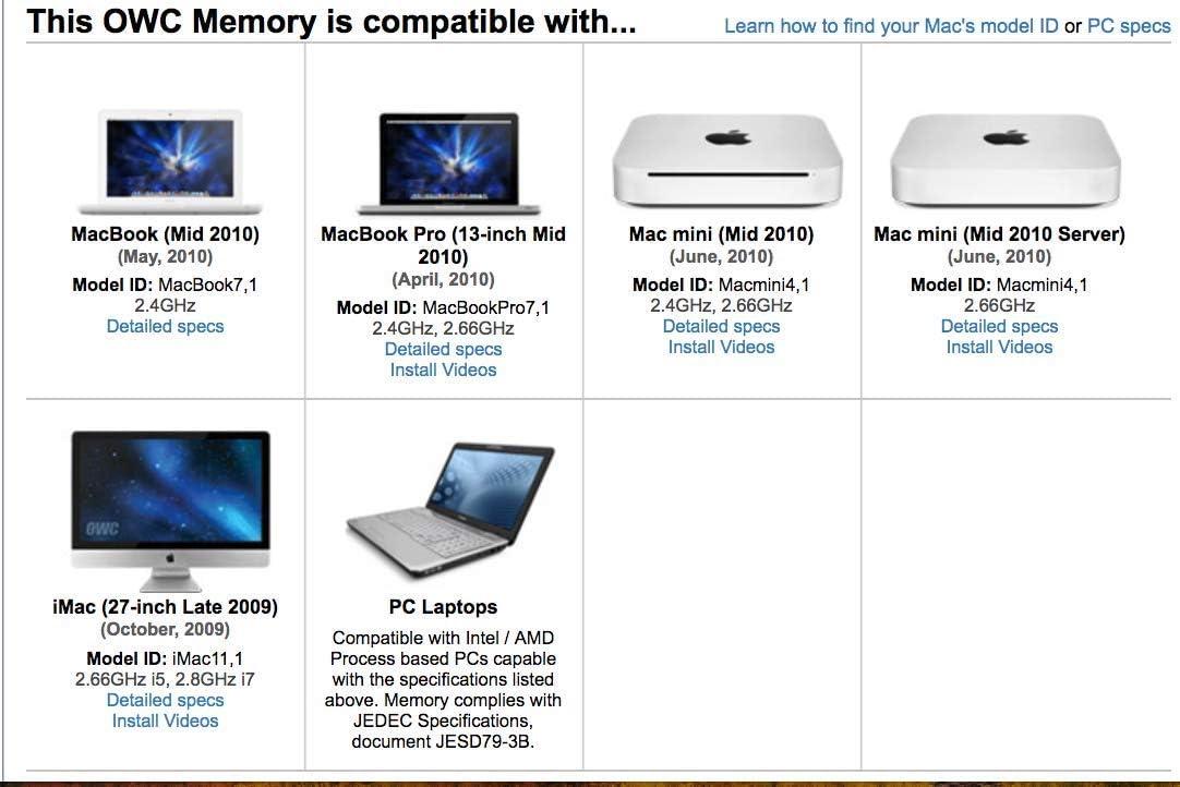 MacBook PC8500 DDR3 Non ECC 1066 MHz 204 pin SO-DIMM Memory Module Mac Mini 2 x 8GB for 2010 MacBook Pro OWC 16GB OWC8566DDR3S16P and 2009 iMac