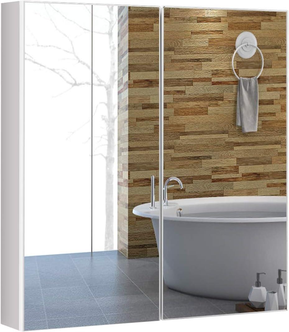 COSTWAY Spiegelschrank Bad, Badezimmerspiegelschrank weiß, Wandschrank mit  Spiegel, Hängeschrank Holz, Badezimmerspiegel 12x12x12,12cm Klein