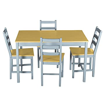 Dining Table Chairs Warmiehomy Dining Table With 4 Chairs Pine Wood