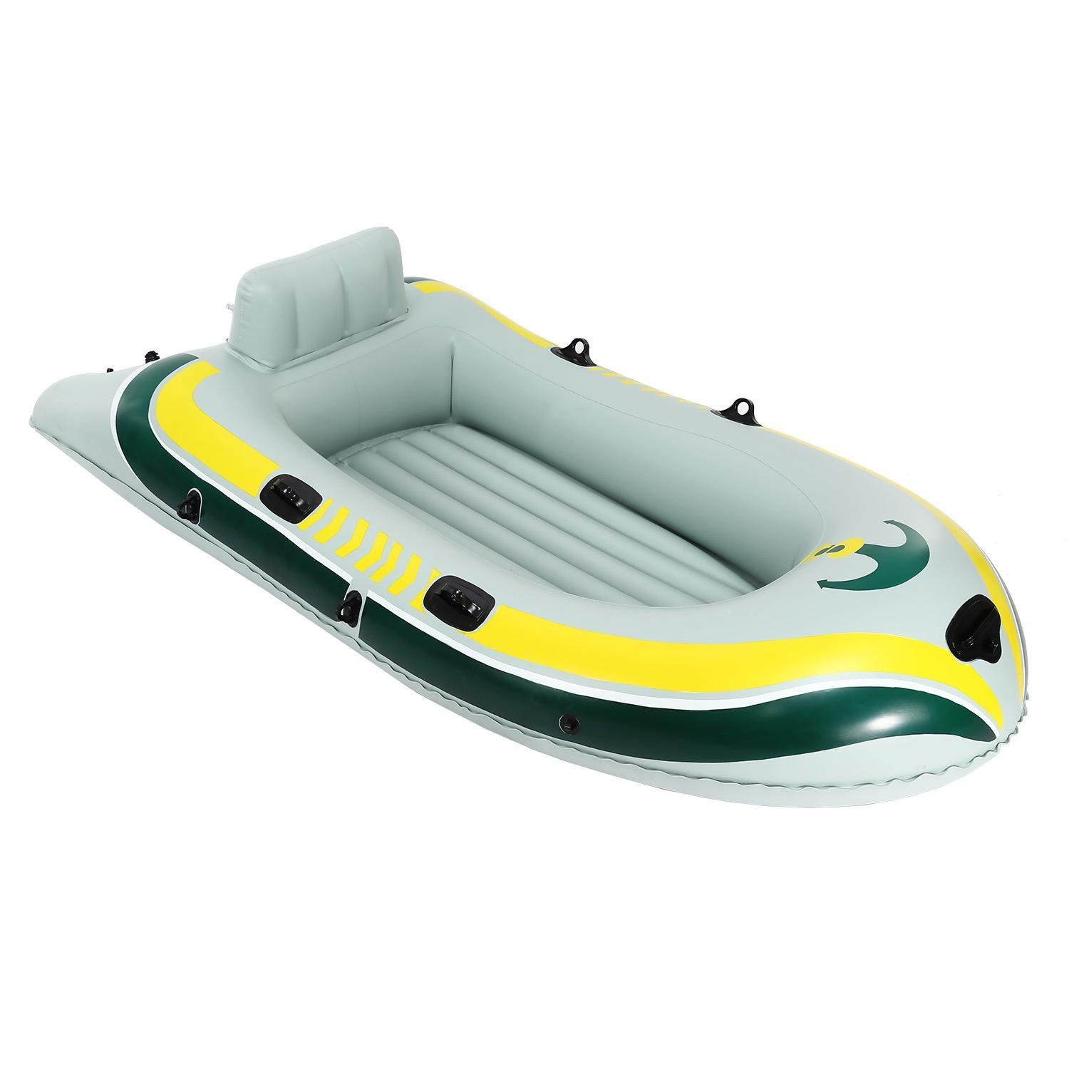 New PVC Inflatable 4 Person Large Boat Set with Pair-Oars and High Output Air Pump for Fishing, Sports, Rapids, Beach, Party & Fun (US STOCK)