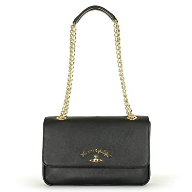 85823e859e Vivienne Westwood Anglomania Divina Chain Black Leather Chain Shoulder Bag  Black Leather
