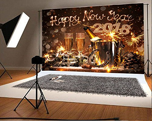 Laeacco 7x5FT Vinyl Backdrop New Years Eve Celebration Photography Background 2018 Happy New Year Champagne Bottles Bucket Horseshoe Lucky Charm Festival Background Bokeh Snowflakes Holiday