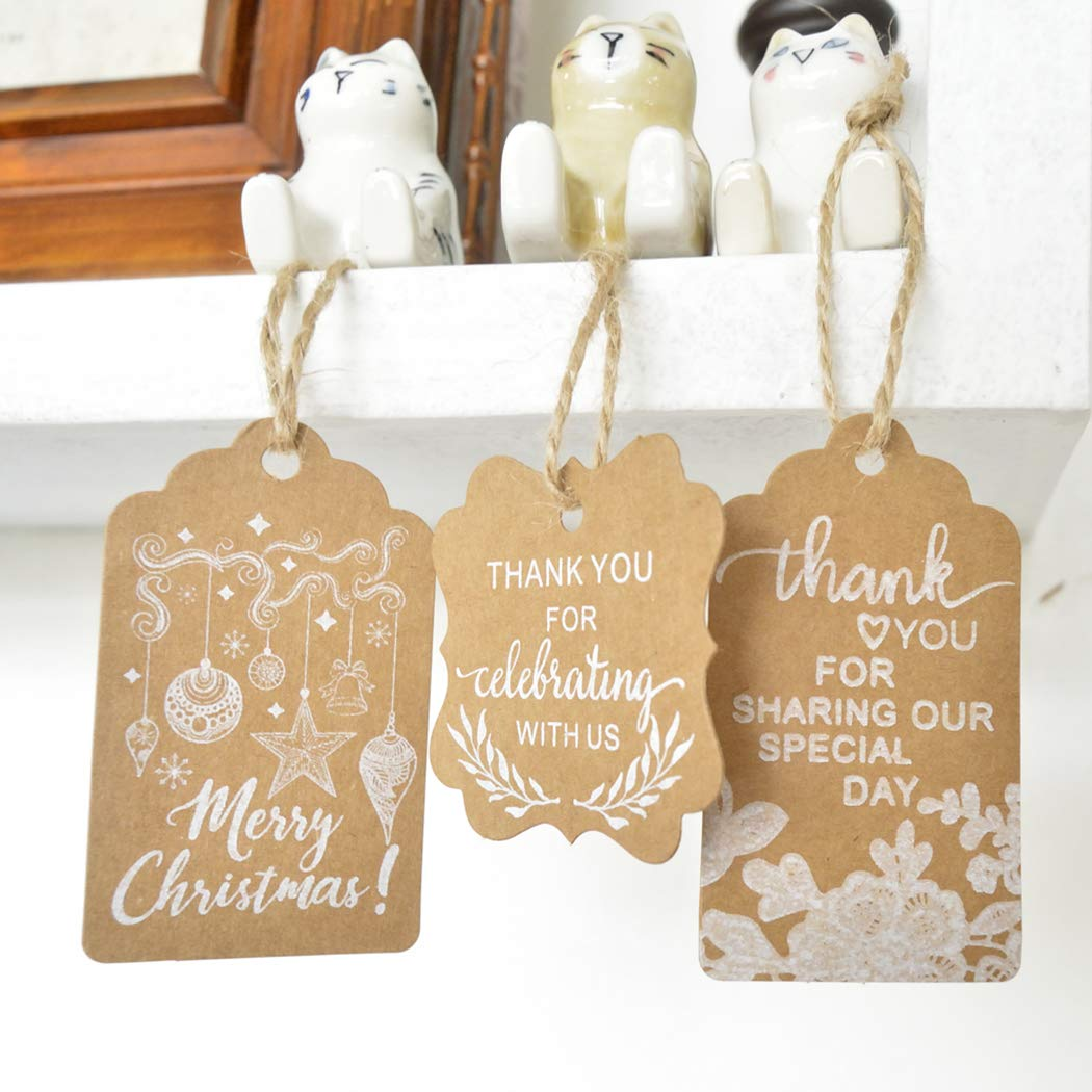 Xmas Gift Tag,Justdolife 150PCS Christmas Gift Tag Decorative Hanging Tag Paper Tag with Jute Twine by JUSTDOLIFE (Image #8)