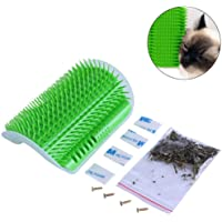 Cat Self Groomer Wall Corner Massage Tool Grooming Comb Toy with Catnip Perfect for Cat with Long/Short Fur (Green)