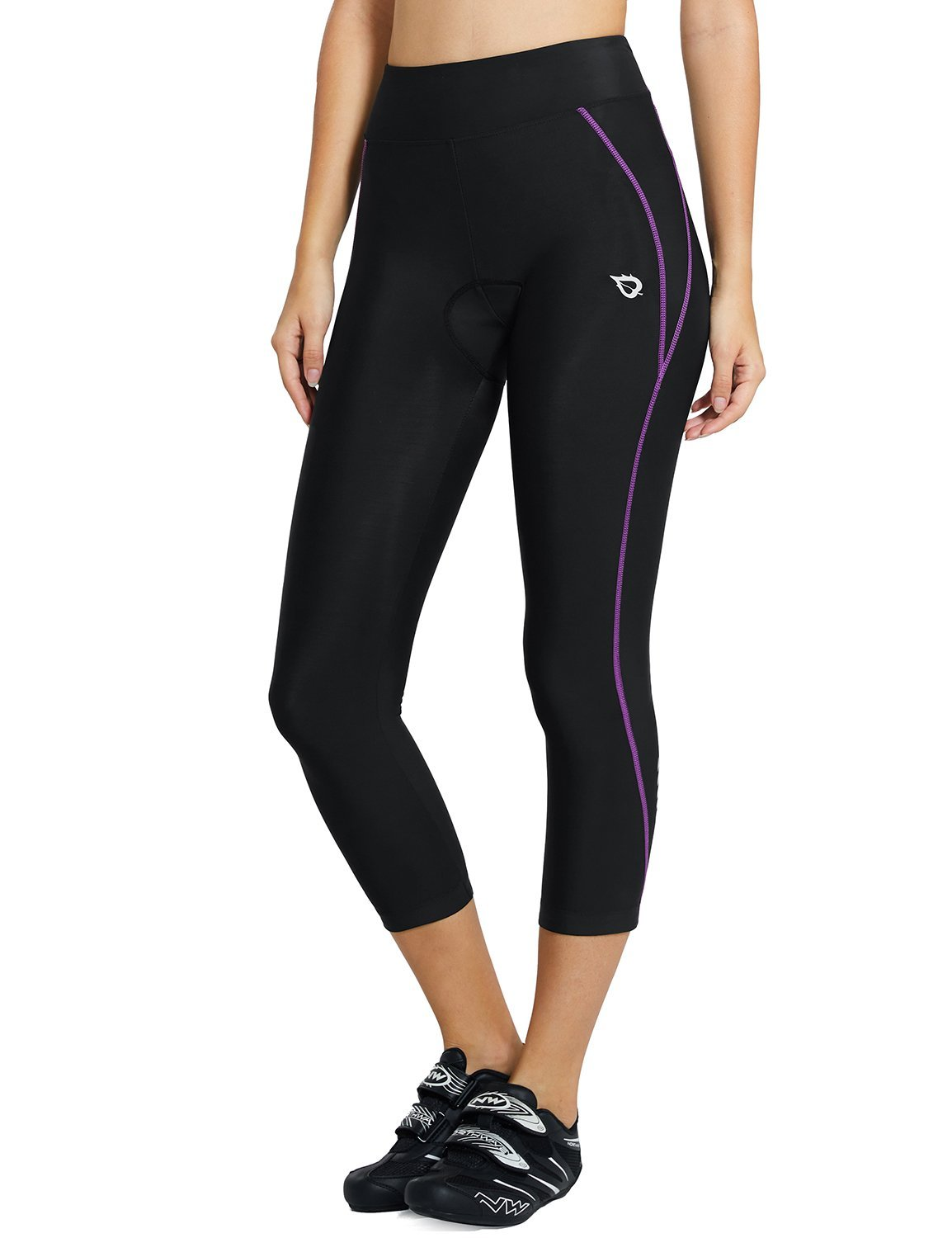 Baleaf Women's 3D Padded UPF 50+ 3/4 Cycling Pants Capris with Pocket Purple Line Size XXL by Baleaf