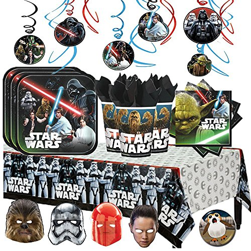 Star Wars Classic Mega Deluxe Birthday Party Supply Pack for 16 with Plates, Napkins,Cups, Tablecover, Hanging Swirl Decorations, Star Wars Themed Masks, and a Porg Inspired Pin