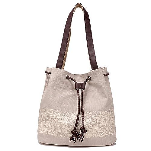 Amazon.com: Bolsa de hombro de tela, de Hiigoo, Beige, talla ...