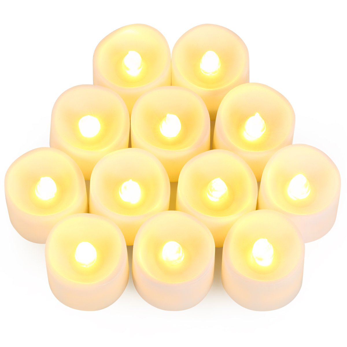 Criacr Flameless Candles, LED Battery Candles, Flickering Candle Tea Lights, Electric Candles for Christmas, Party, Birthday Decoration, Wedding (12 Packs, Batteries Included)