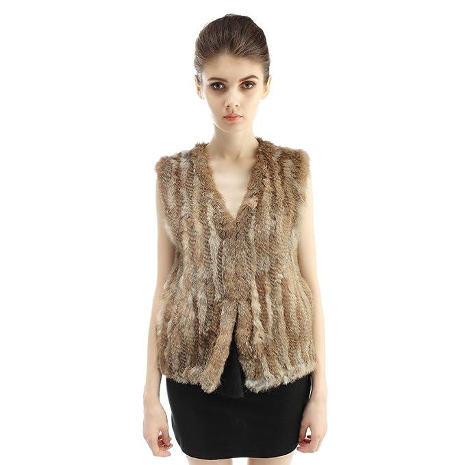 Vemolla Abrigo tejido de moda muchacha de piel de Rex conejo para mujer: Amazon.es: Ropa y accesorios