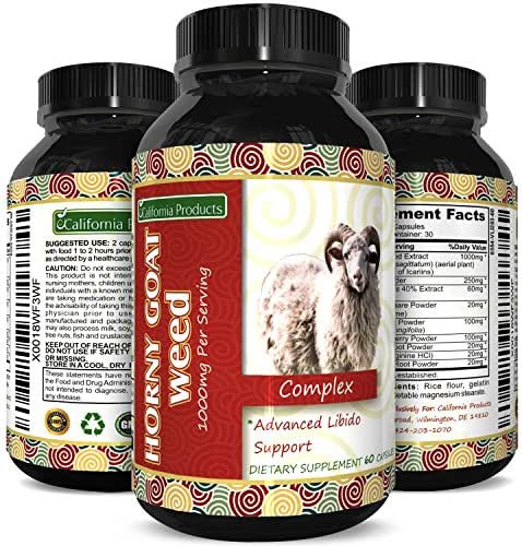 Horny Goat Weed Extract Pills for Men and Women Boost Drive and Energy with Natural Maca and Tongkat Ali Supplement Pure Epimedium Capsules for Female and Male Enhancement by California Products