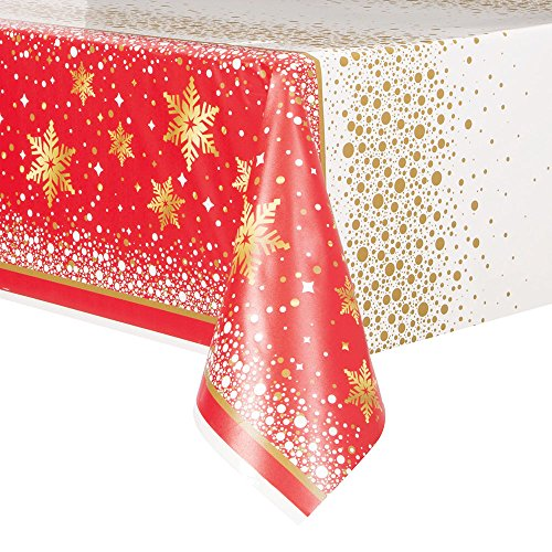 Gold Sparkle Christmas Plastic Tablecloth, 84