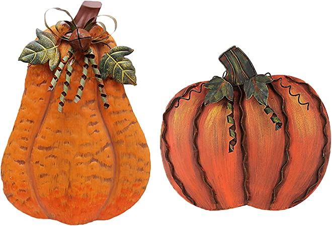 fall harvest decorations outdoors amazon com why decor set of 2 metal pumpkin decoration outdoor  amazon com why decor set of 2 metal