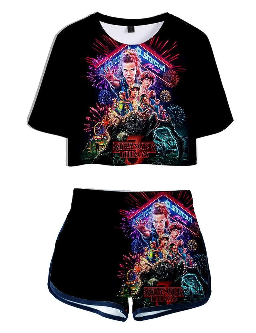 Stranger Things Shirt Damen Teenager M/ädchen Stranger Things Season 3 3D Sommer T-Shirts Unisex Frauen Herren Kurzarm Tshirts M/änner Jungen Kinder Sport Blusen Shirt Kids Oberteile Top