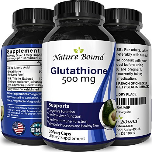Pure Glutathione Whitening pills Supplement Benefits - Skin Amino Acids + Antioxidants - Food Grade Natural liposomal Capsules - Best for Women and Men - USA Made by Nature Bound