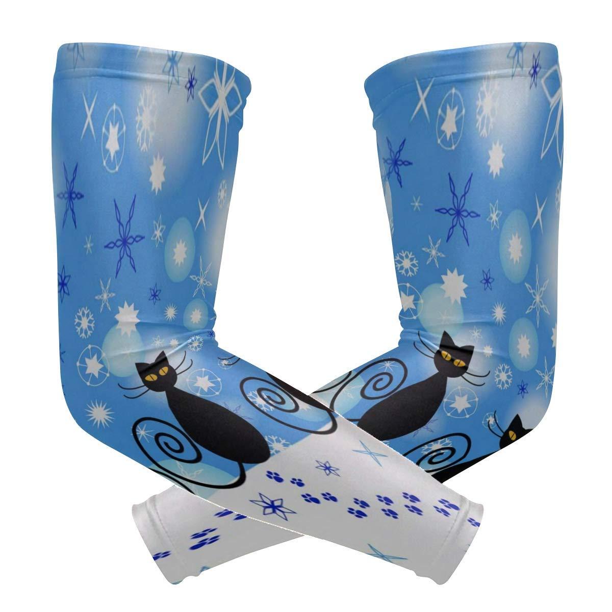Arm Sleeves Fairytale Whale Moon Star Mushroom Mens Sun UV Protection Sleeves Arm Warmers Cool Long Set Covers White