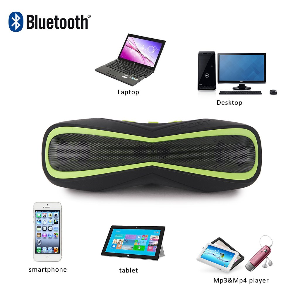 Awkli Waterproof Portable 4.0 Bluetooth,IPX5 Water Resistant With Handsfree Call,AUX Line,in Stereo,TF Card,HD Sound,Suitable For Iphone Ipad Android and More Bluetooth Device (Black and green)