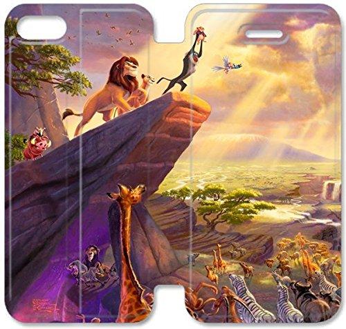Coque iPhone 5 5S Coque Cuir, Klreng Walatina® PU Cuir de portefeuille de couverture Coque pour Coque iPhone 5 5S Design By Le Roi Lion U1I2Qz