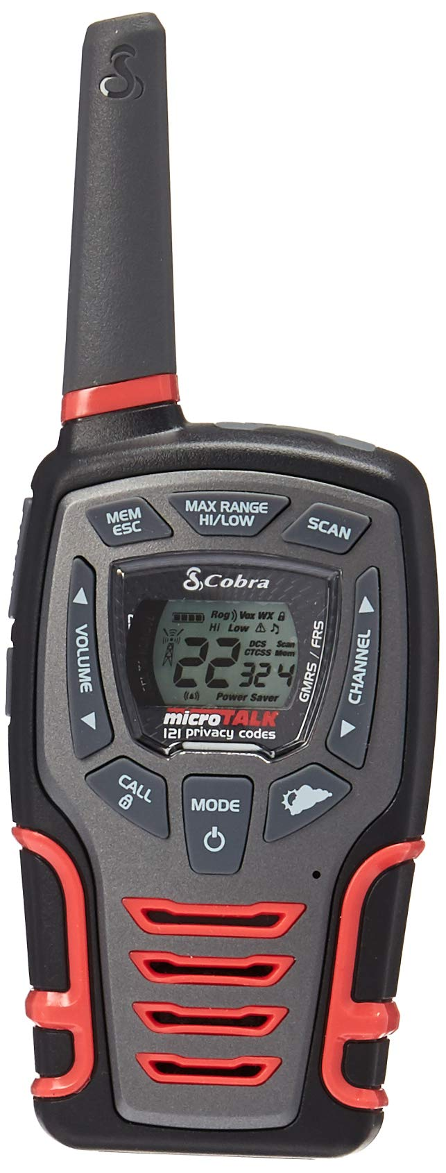 Cobra CXT531 Kids' Walkie Talkies Two-Way Radios Toy for Kids, Rechargeable with Dock, Black & Red (Pair)