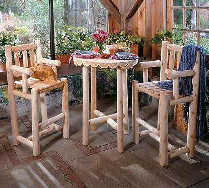 Amazon Com 3 Piece Log Cafe Bistro Set Outdoor And Patio