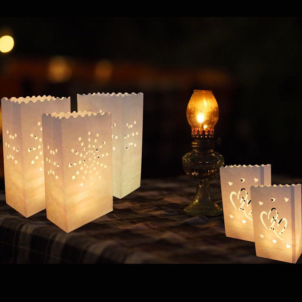HuntGold 10/pcs ignifuge r/ésistant aux flammes Lanterne Bougie Sac lumi/ère support papier F/ête danniversaire de mariage D/écorations de No/ël Double Heart beige