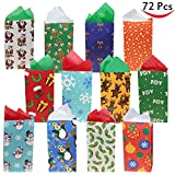 72 Pack of Christmas Holiday Goody Bags; 12 Assorted Christmas Designs Goodie Bags for Classrooms, Party Favors, Small Gift Bags, Kraft Holiday Gift Bags and Christmas Craft Bags b...