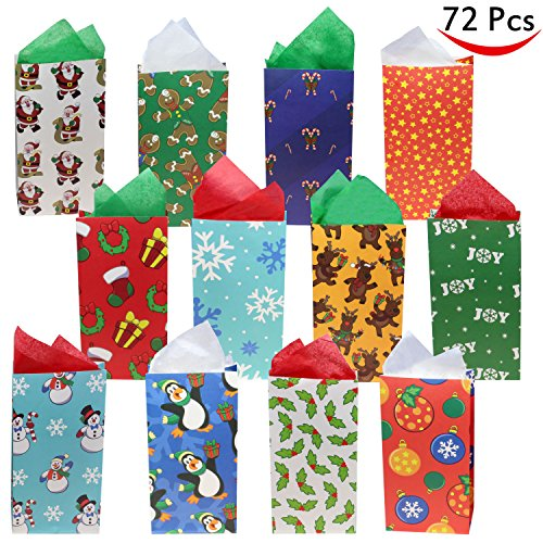 72 Pack of Christmas Holiday Goody Bags; 12 Assorted Christmas Designs Goodie Bags for Classrooms, Party Favors, Small Gift Bags, Kraft Holiday Gift Bags and Christmas Craft Bags by Joiedomi