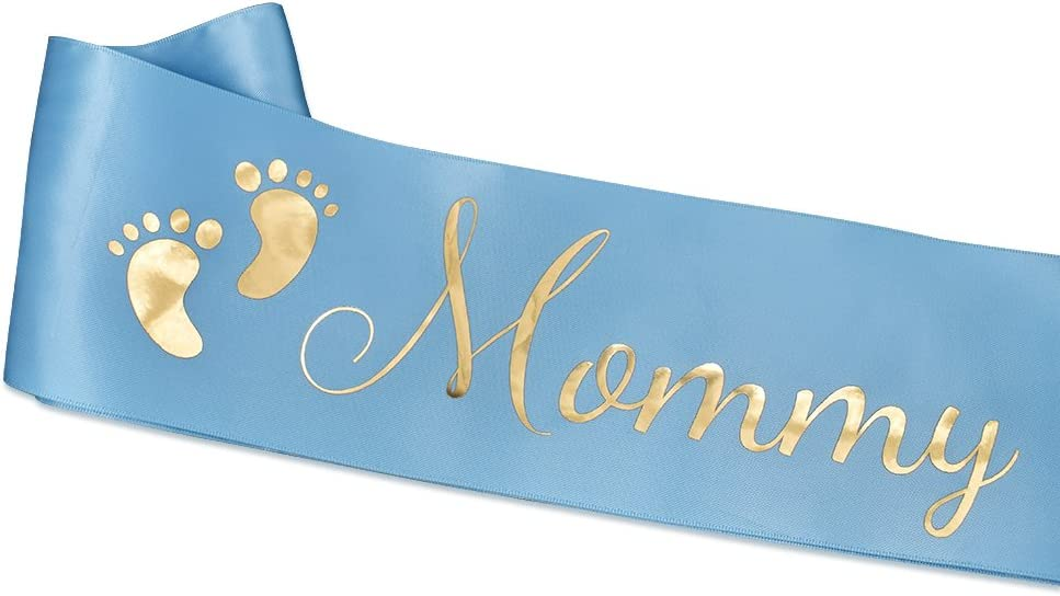 TTCOROCK Baby Shower Light Blue Sash Daddy to Be Tinplate Badge Combo Kit Baby Shower Party Gender Reveals Party Gifts Light Blue
