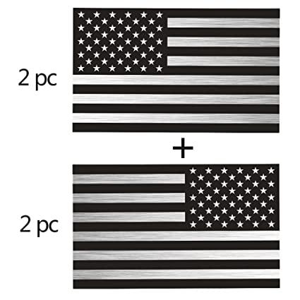 Silver Brushed Finish American Flag Stickers 2 Pairs Bundle 3