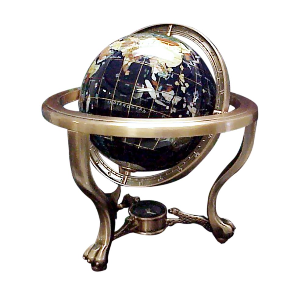 Jade Market Hong Kong Office Decorative 110mm Tri-pod Style World Gemstone Globe