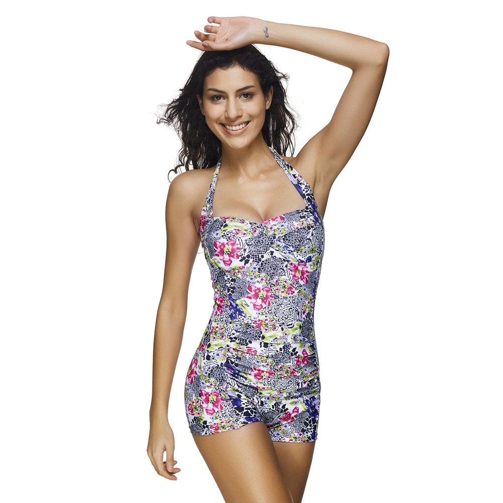 7130c9a23d JOYMODE One Piece Swimsuits for Women Boyleg Sports Swimwear Floral Print  Bathing Suits