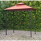 Sunjoy Outdoor Freestanding Grill Canopy Gazebo with Double Roof Shelter and Two Handy Shelves Made with Polyester Fabric and Metal in Terra Cotta 8.2' H x 8' W x 5' D