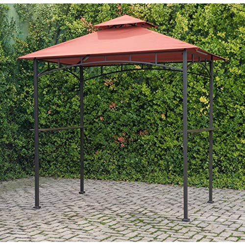 Steel Roof Terra Cotta (Sunjoy Outdoor Freestanding Grill Canopy Gazebo with Double Roof Shelter and Two Handy Shelves Made with Polyester Fabric and Metal in Terra Cotta 8.2' H x 8' W x 5' D)