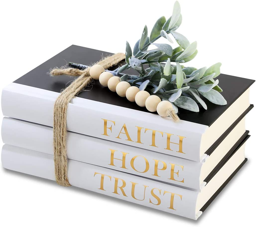 Decorative Hardcover Quote Books,Black and White Decoration Books, Farmhouse Stacked Books ,HOPE   FAITH   TRUST (Set of 3) Stacked Books for Decorating Coffee Tables and Bookshelf