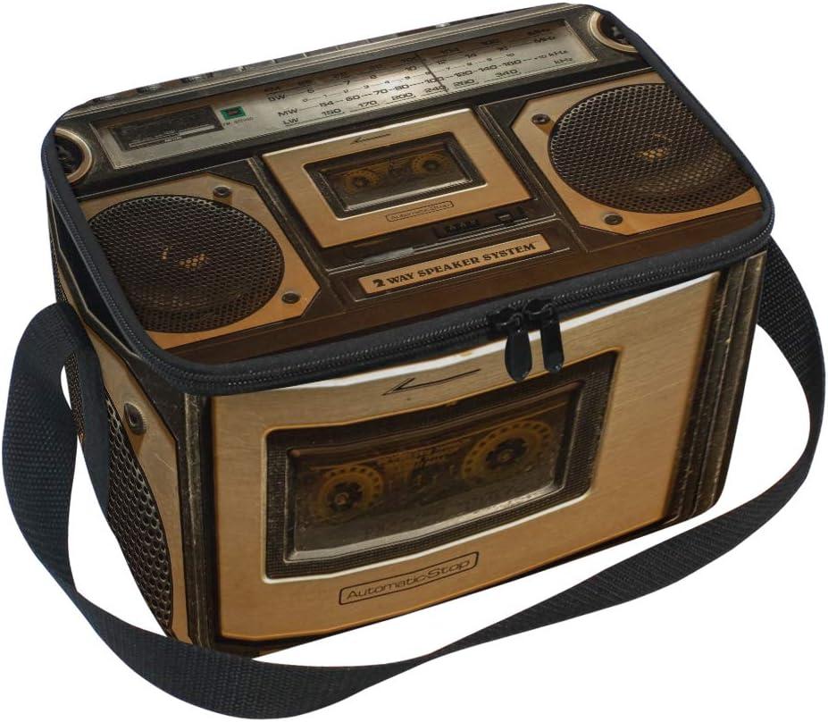 Ahomy Bolsa térmica con cremallera – Vintage Radio Cassette grabadora grande aislada lonchera para uso al aire libre, picnic, camping, playa