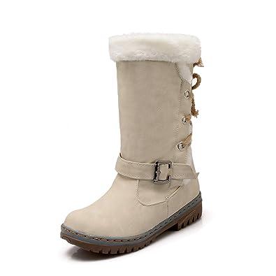 tqgold Femme Bottes de Neige d hiver Bottines Fourrées Chaudes Hiver  Bottines à Lacets Cuir 038b8b2ed902