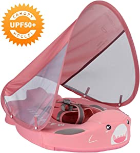 HECCEI Mambobaby Baby Shark Float with Sun Canopy – Pink