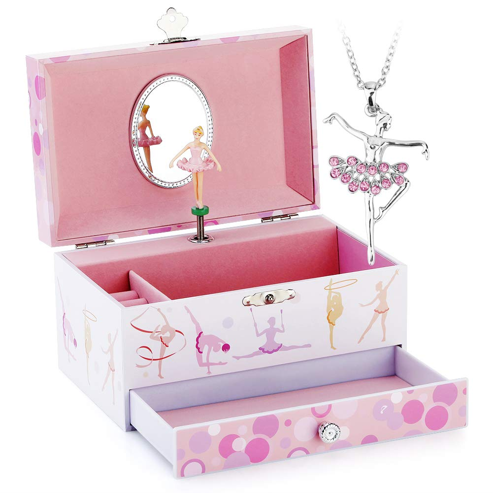 Musical Jewelry Box - Musical Storage Box with Drawer and Jewelry Set with Lovely Gymnastics Girl Theme - Beautiful Dreamer Tune Pink