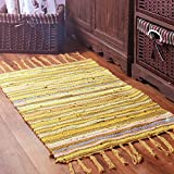 Area Rugs, Honana Cotton Linen Carpet and Kitchen Long Mats for Bedroom or Bathroom, Non Slip Rug Pad for Foot, Anti Slip Door Mat, Multicolor Carpet Mat, 19.68'' x 31.49'' Yellow