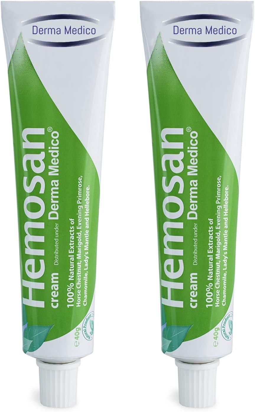 Derma Medico HEMOSAN Crema Para Hemorroides, Pack 2 Botes Crema Anti Hemorroides Fisuras Anales Eczema, Tratamiento Hemorroides Alivio Rapido, Crema Sin Parabenos 100% Natural Pomada Anso