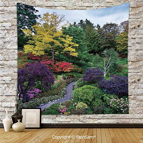FashSam Polyester Tapestry Wall Famous Masterpiece of Park Architecture Butchart Gardens Colorful Flowers Leaves Print Hanging Printed Home Decor(W59xL78) ()