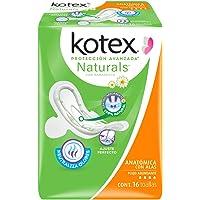 Kotex Naturals Anatómica Con Alas, 16 Piezas