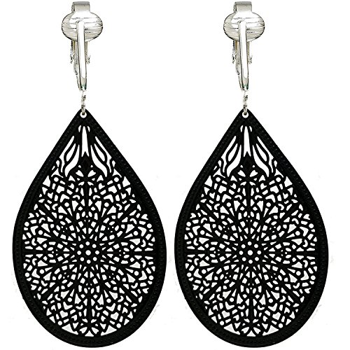 (Lovely Victorian Filigree Clip On Earrings for Women & Clip-ons, Lightweight Teardrop Leaf Dangle (Black))