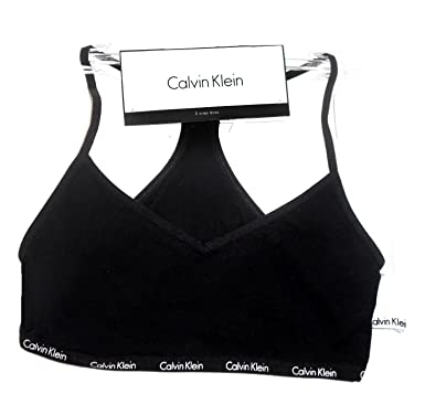 9252319f20a Calvin Klein New Genuine Girls Crop Top Bra Bralette (2 Pack - Black   White