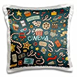3D Rose Cinema Fan Goer Cute Illustration Movies Silver Screen Pillow Cases, 16'' x 16''